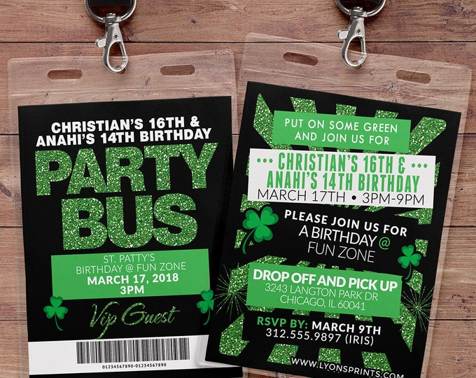 VIP PASS, Party Bus, Limo pass, Birthday invitation, St. Patrick's Day, St. Patty's Day, Invitation, Pub Crawl,  backstage pass, Irish,
