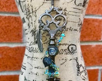 Edgy Antique Skeleton Key Necklace Silver Feather & Mother of Pearl Rose, Steampunk Necklace, Boho, Wire Wrapped Key, Vintage Key Necklace