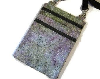 Cell phone bag, Small cross body bag, Fabric sling bag, Batik crossbody purse, Fabric shoulder bag, Passport bag, Polka dot batik purse