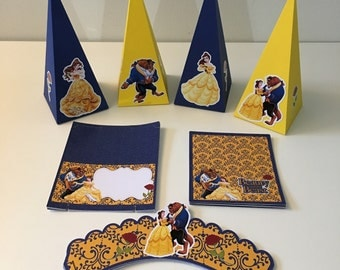 Beauty and the beast, Princess Kit Party (contains 42 pieces) 12 Cone Box,12 Treat Bag,6 Food Cards,12 Cupcake wrapper.