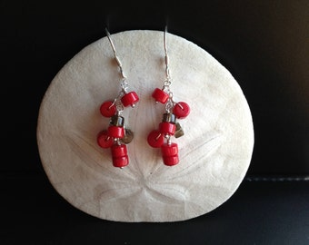 Red Coral and Smoky Quartz Earrings