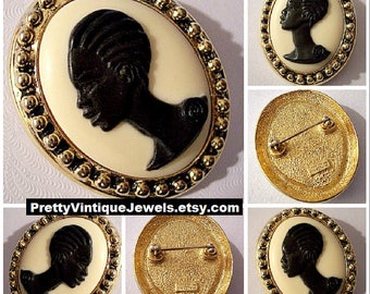 Coreen Simpson The Black Cameo Pin Brooch Gold Tone Vintage African American Woman Large Oval Nail Raised Head Edge Pebbled Back