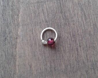 Tiny hoop with garnet, cartilage earring, 8 mm hoop beaded hoop, 20 gauge hoop for rook, forward helix and daith piercing, cartilage jewelry