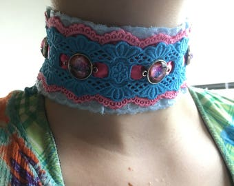 Bright pink and blue lace choker necklace with round pink galaxy baubles