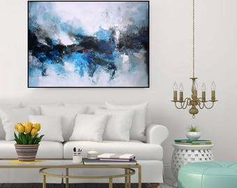 Blue Wall Art Decor large abstract paintings original wall artchristovart on etsy