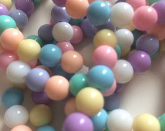 Kawaii Bubble Bracelets - Round Rainbow Pastel Little Plastic