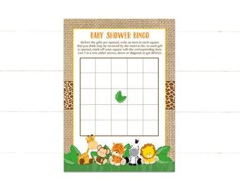 Safari Baby Shower Bingo Cards, Jungle Baby Animals Bingo Card, Instant Download PDF Printable 502