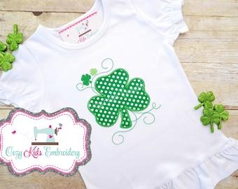 St. Patrick's Day Shirt, St Patty Shirt, Girls Saint Patrick's Day Shirt, Clover Shirt, Clover Applique, Monogram, Embroidery