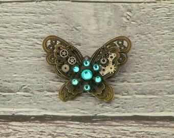 Aquamarine Steampunk Butterfly Brooch, Steampunk Brooch, Steampunk Pin, Butterfly Pin, Butterfly Jewellery, Steampunk Jewellery