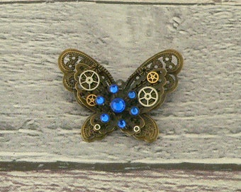 Blue Steampunk Butterfly Brooch, Steampunk Brooch, Steampunk Pin, Butterfly Pin, Butterfly Jewellery, Steampunk Jewellery