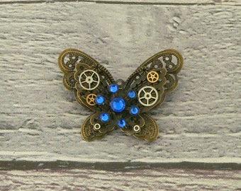 Blue Steampunk Butterfly Brooch, Steampunk Brooch, Steampunk Pin, Butterfly Pin, Butterfly Jewellery, Steampunk Jewellery
