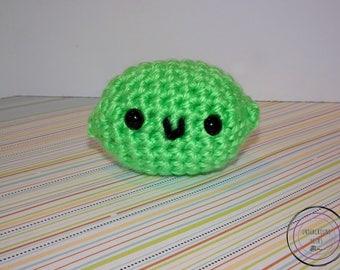 Lime Cutie - Green Crochet Lime Plushie - Cute Green Lime Amigurumi - Green Lime Stuffie - Cute Green Lime Stuffed Animal - Crochet Fruit