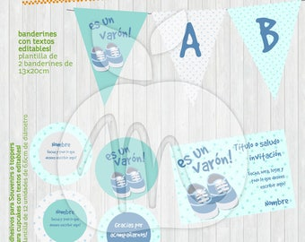 Printable and editable texts Kit with Baby shoes for your party! Blue and dots for baby showers, its a boy!