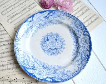 Antique French Ironstone Plate White Blue Transferware Plate FENAL Frères FF Pexonne Fleurs 1800s