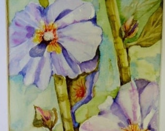 Hollyhocks, original watercolor,