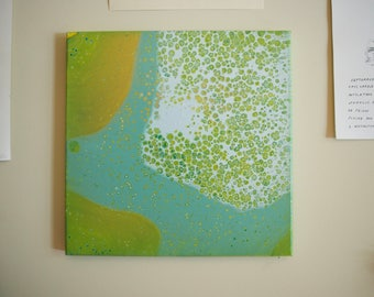 blue green abstract painting