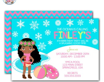 Moana Pool Party Invitation, Moana Invitation, Winter Pool Party Invitation, Moana Winter Pool Party Invitation, Moana Birthday Party