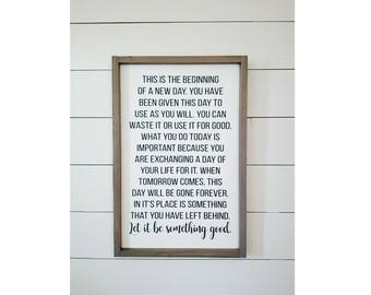 "16x24""-This is the Beginning of a New Day Quote,Wood Sign,Rustic Signs,New Day Sign,Farmhouse Decor,Rustic Decor,Quote Sign,Gifts,Wall Decor"