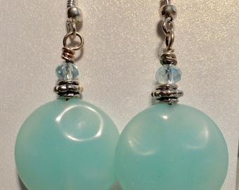 Jade Earrings with crystal accent.  Mint Green. Round shaped earrings.