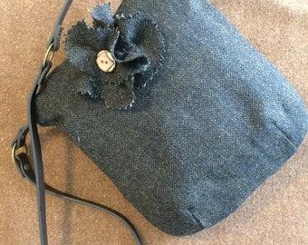 Black and Brown Wool Herringbone Small Bag