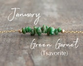 January Birthstone Necklace, Green Garnet Bar Necklace, Tsavorite Necklace, Healing Crystal Necklace, Inspirational Gift, Gift for Friend