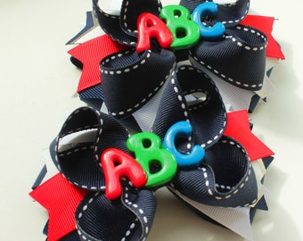 Back to School Hair Bow Back to school bow kindergarten hair bow school bow school hair bows back to school bows Uniform hair bows Hair Bow