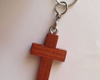 Cherry-coloured wooden cross keychain