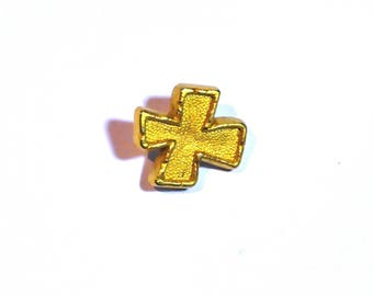 Set of 15 shank buttons in the shape of Golden effect baroque cross antique gold metal