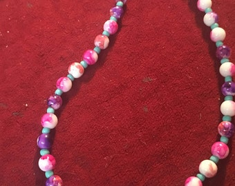 Glass Pink & Purple Beaded Necklace