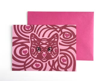 Cat love card, Best cat lover gifts, Cat birthday card, Cute cat card, Cat greeting card, Cat lover card, crazy cat lady, pink cat, hearts