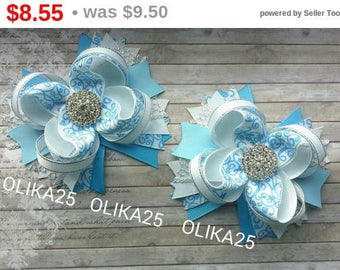 CHRISTMAS SALE Stacked bows Frozen hair clip Girls hair accessories Christmas gifts Elsa Anna hair bows Christmas bows Frozen party favor...