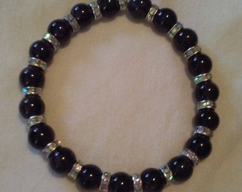 Handmade Stretchy Bracelet With Purple Amethyst Gemstone Beads
