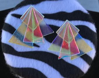 Vintage Geometric Earrings // Abstract Earrings // Translucent Glass Triangle Fan Earrings // Rainbow Opal // Purple Pink Glass Earrings