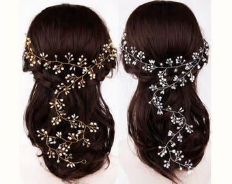 Long Bridal Hair Vine, Wedding Hair Vine, Bridal Headpiece, Hair Vine Gold, Pearl Hair Vine, Wedding Headpiece, Bridal Hair Piece, Wreaths