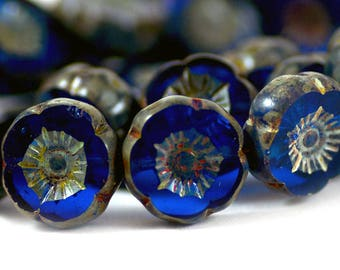 Czech Glass Hawaiian Flower Beads in Transparent Cobalt Blue and Gray Stone Picasso Finish 14mm