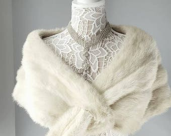 LUXURY Vintage Mink Stole  - Real Fur Stole - Ivory Mink Shawl  - Fur Shrug -  Luxury Bridal Wedding Capelet - Fur Wrap -Winter Wedding Fur