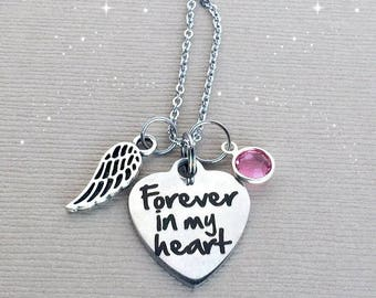 Forever in my Heart Necklace, Memorial Necklace, Sympathy Gift, Remembrance Jewelry, Memorial Jewelry, MEM026