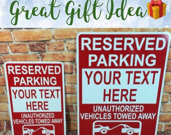"""Custom Reserved Parking Unauthorized Vehicles Towed Away Metal Sign 6""""x9"""" Custom-made Personalized Sign  - (3 sizes available)"""