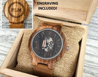 Engraved Wood Watch, Men's Wooden Watch, Watches for Men, Leather Watch, Gift for Him, Groomsmen Gift, Personalized Gift, Anniversary Gift