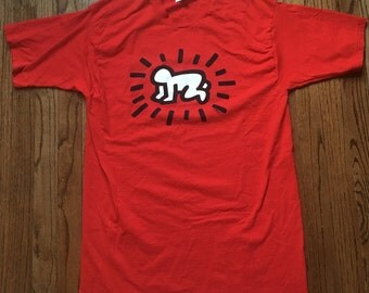 Vintage Keith Haring Pop Shop T Shirt Size L Large Red White Black Single Stitch 90s 80s