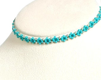 "Daisy Choker, Teal Seed Bead Choker, Beaded Boho Necklace, Handmade Jewelry, Gift for Her, 12"" to 15"""