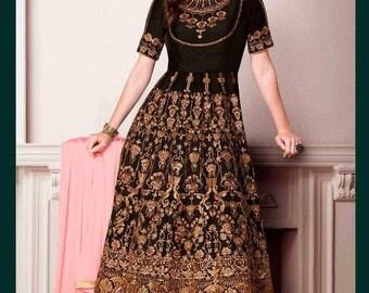 Indian Designer Rust Black Colored Faux Georgette Salwar Suit Anarkali heavy embroidered Suit Dress