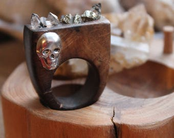 Ring with a skull Jewelry wedding Goth ring Gothic ring herkimer diamond Ring  Mystic gift/for/her Goth jewelry Engagement ring wooden ring