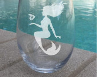 SET OF 2 Mermaid Stemless Wine Glasses