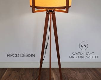 Floor lamp from wood. Tripod style design. Sapele and Ash.