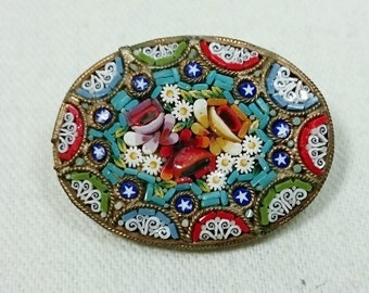 Oval Micro Mosaic Brooch Pin, Italy, Grand Tour Souvenir, Flowers & Stars