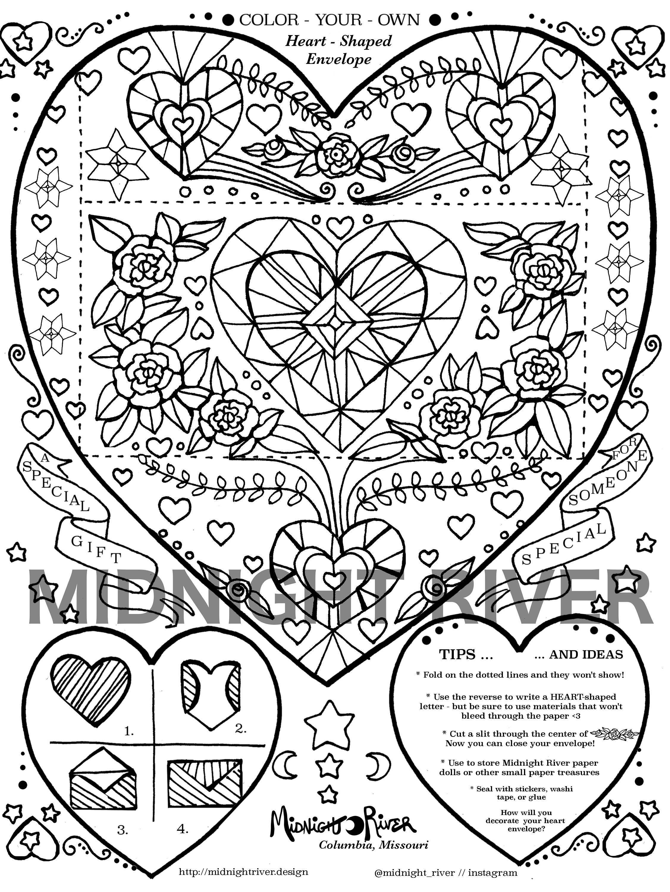 Printable Envelope Template // Heart Shaped Design // Coloring Project PDF