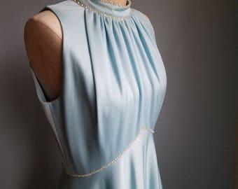vintage sleeveless halter rhinestone dress