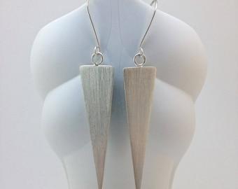 Triangle Silver Earrings - Geometric Silver Earrings - Minimalist Silver Earrings
