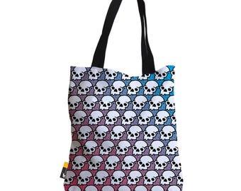 "Artist Designed Tote Bag - 18"" Inch Multi-Color Retro Beach Bag   Bones by Bigshot Robot    UBU Republic"